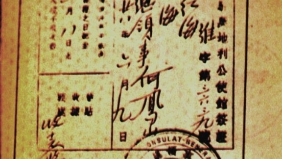 A Shanghai visa signed by Ho Feng Shan with a serial number of 3639.  Ho issued visas to Shanghai so that Jews could use the city as a conduit to escape to other places.
