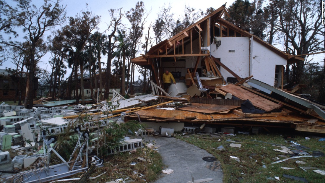 "<strong>Hugo, 1989</strong>: <a href=""http://www.nhc.noaa.gov/outreach/history/#hugo"" target=""_blank"">Hugo</a> ripped through the Carolinas, starting with Charleston, South Carolina, on September 22 as a Category 4 after raking the U.S. Virgin Islands and Puerto Rico. Here, a man stands in a destroyed house on September 27 in South Carolina."