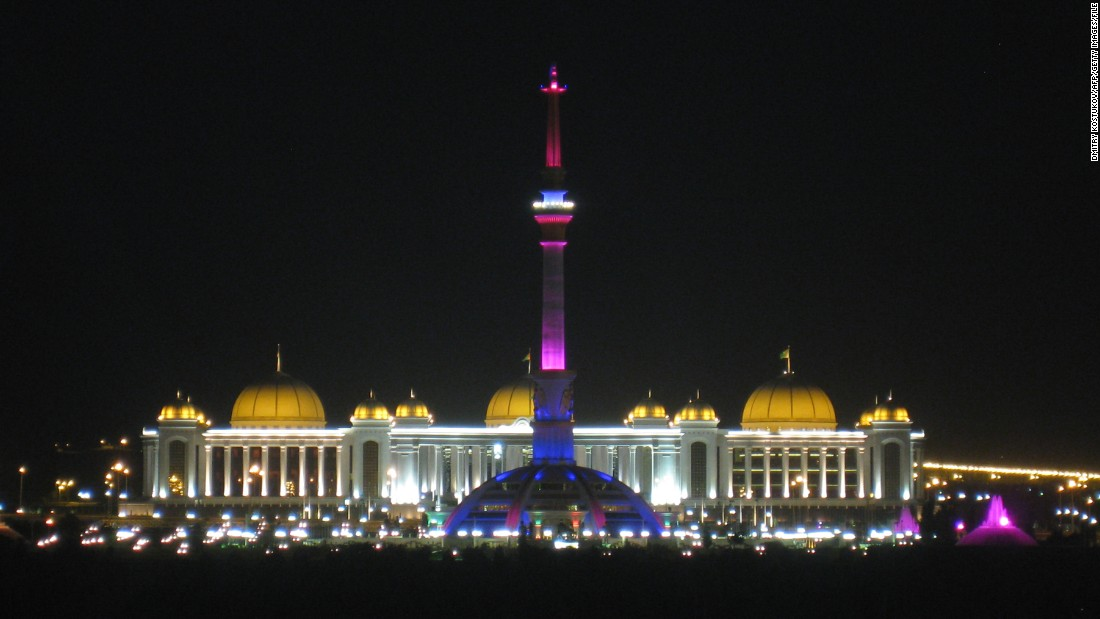A night view of the Turkmen Independence Monument.