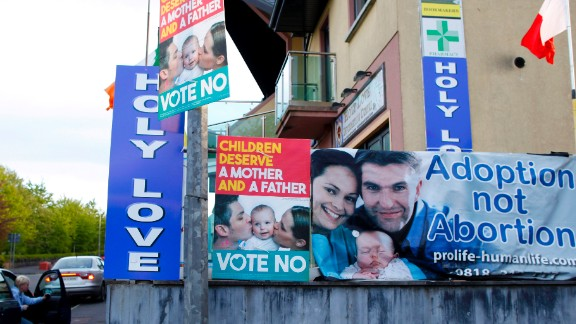 """""""No"""" campaign posters are seen in the village of Knock, in northwest Ireland, on Tuesday, May 19."""