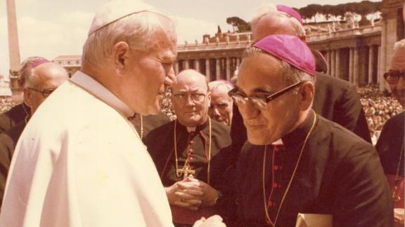 Archbishop Oscar Romero with Pope John Paul II in an undated photo