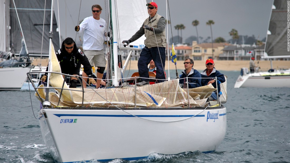 "John Szalay and his crew prepare to start the 2015 regatta between Newport Beach, California, and Ensenada, Mexico. ""You'd have to try real hard to find someone as competitive"" as Szalay with his team,"" a race organizer says."
