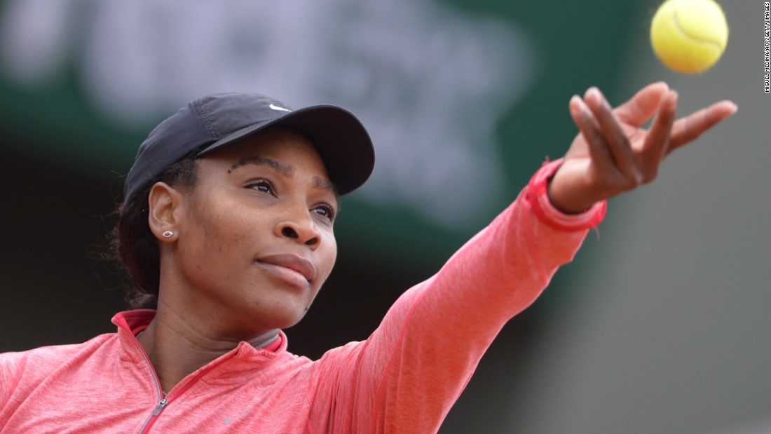 Williams, the world's No. 1 player, serves during a training session ahead of the 2015 French Open in Paris.