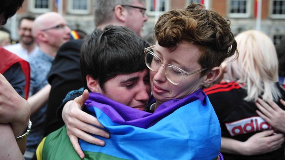 """Irish Deputy Prime Minister (or Tanaiste) Joan Burton said the anticipated """"yes"""" vote was Ireland's """"rainbow moment.""""  Above, savoring the moment in Dublin."""