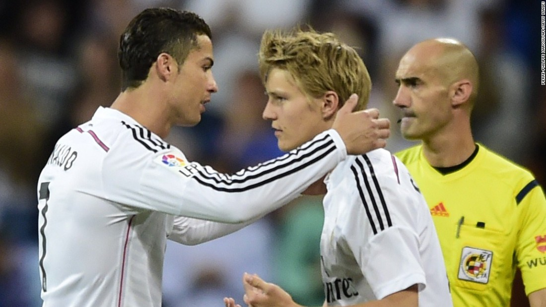 Martin Odegaard became Real Madrid's youngest debutant when he replaced world player of the year Cristiano Ronaldo in the club's final match of the 2014-15 season against Getafe, aged 16 years, five months and six days.