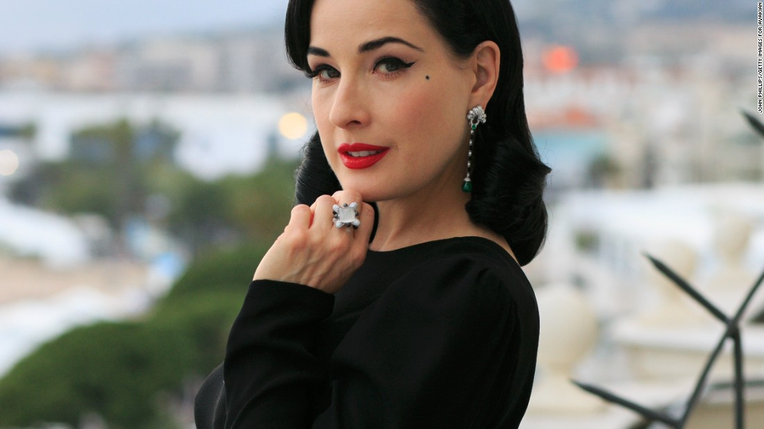 Burlesque star Dita Von Teese poses at the Avakian suite at the Carlton Hotel.