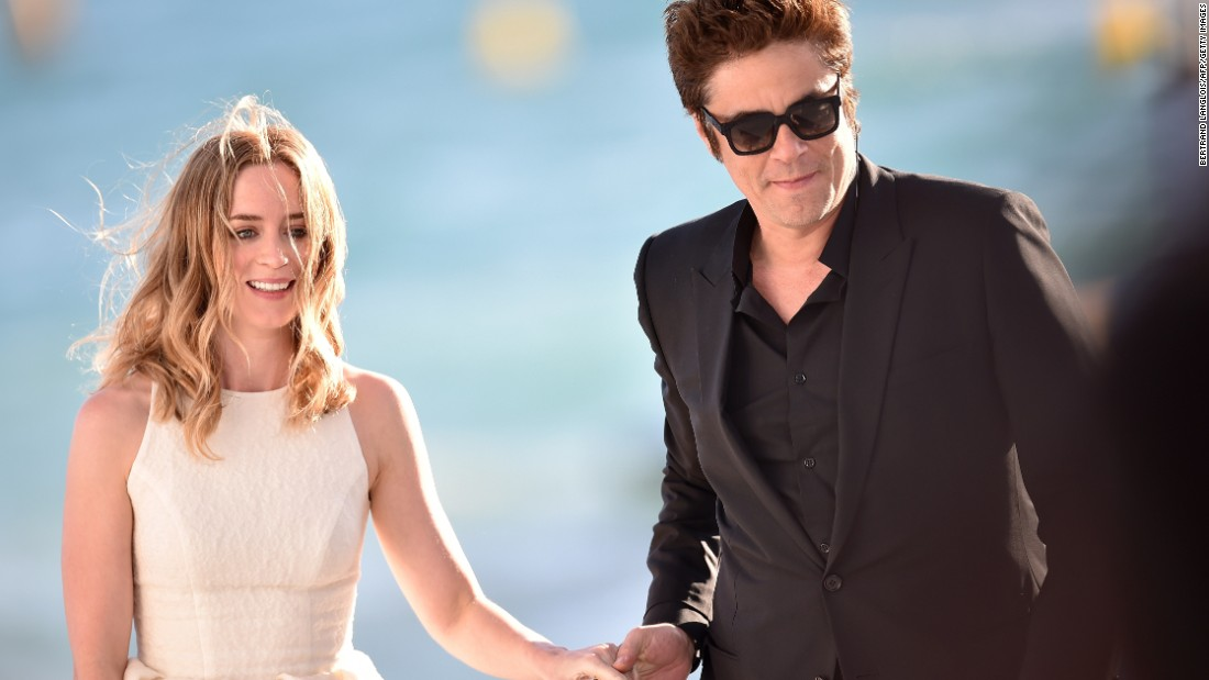 British actress Emily Blunt and U.S.-Puerto Rican actor Benicio Del Toro arrive on the set of the Grand Journal TV show on the sidelines of the festival on May 20.