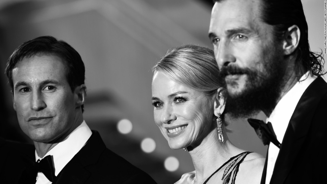 "U.S. writer and producer Chris Sparling, British actress Naomi Watts and U.S. actor Matthew McConaughey arrive for the screening of ""The Sea of Trees"" on May 16, 2015. The film was booed at the press screening and barracked in the reviews that followed."