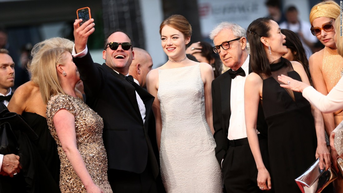 "Emma Stone, Woody Allen, Soon-Yi Previn and Parker Posey pose for a selfie at the premiere of ""Irrational Man"" on May 15. The stars ignored the advice of festival director Thierry Fremaux who had announced a campaign to discourage selfies on the red carpet, describing the practice as ""grotesque."""