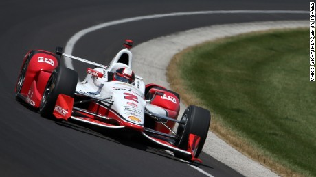 Juan Pablo Montoya of Colombia driver of the #2 Team Penske Chevrolet Dallara drives during the 99th running of the Indianapolis 500 mile race at Indianapolis Motorspeedway on May 24, 2015, in Indianapolis.