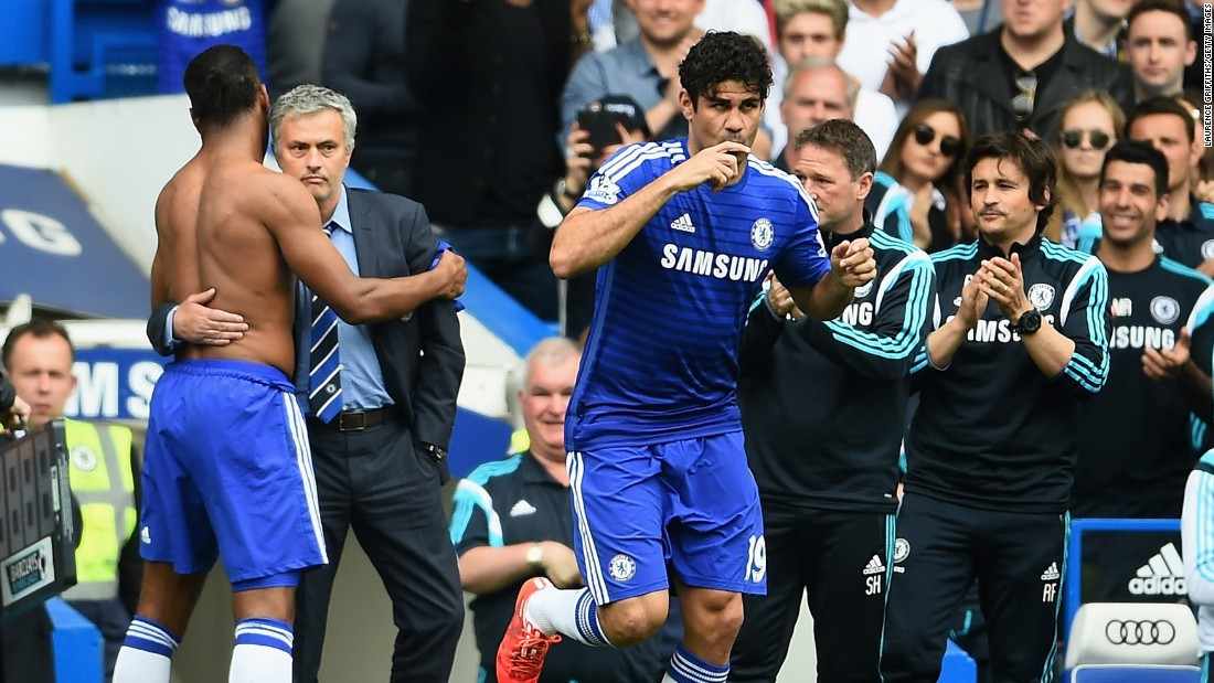 Drogba played almost half an hour before being replaced by the EPL champion's top scorer Diego Costa, who netted a penalty for his 20th in the league this season.