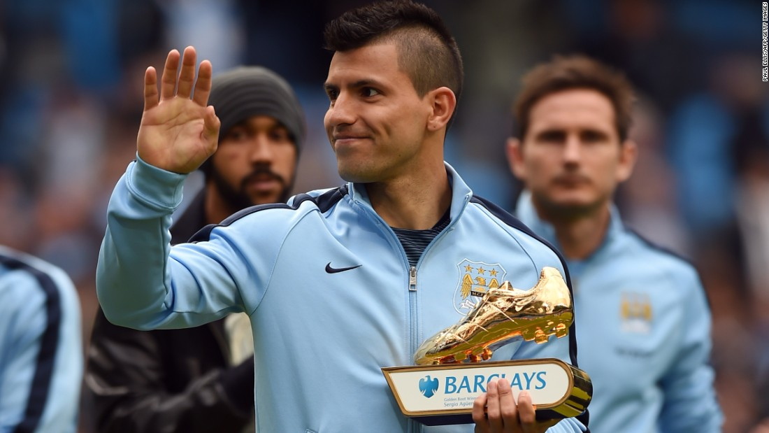 Sergio Aguero grabbed second-placed City's other goal to be confirmed as the Premier League's top scorer on 26.