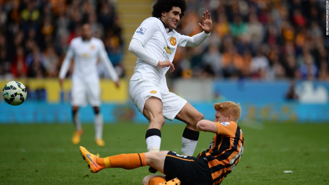 Manchester United will play in the qualifying rounds after finishing fourth following a 0-0 draw which relegated Hull. Substitute Marouane Fellaini was sent off in the second half for this foul on Hull's former United defender Paul McShane.