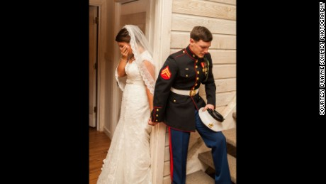 Marine Corps Cpl. Caleb Earwood and his bride, Maggie, before their wedding in Asheville, North Carolina.