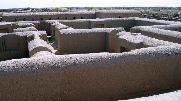 A view of the excavated and restored ancient fortress town of Gonur-Tep in the Kara Kum desert in remote western Turkmenistan.