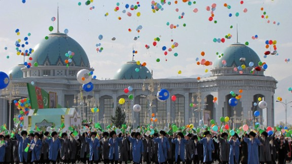 People release balloons during a military parade marking Turkmenistan's Independence Day in Ashgabat in 2012.