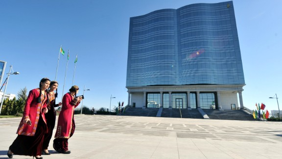 Turkmen women, wearing traditional embroidered caps walk in front of the National Press Building. The 2015 World Press Freedom Index ranked Turkmenistan 178 out of 180 countries. Only North Korea and Eritrea were ranked below Turkmenistan.