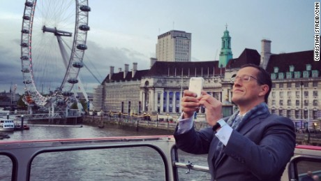 CNN's Richard Quest talks to viewers via Periscope on election night in London.