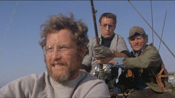 """Robert Shaw, right, told the cruiser's story to Roy Scheider and Richard Dreyfuss, left, in """"Jaws."""""""