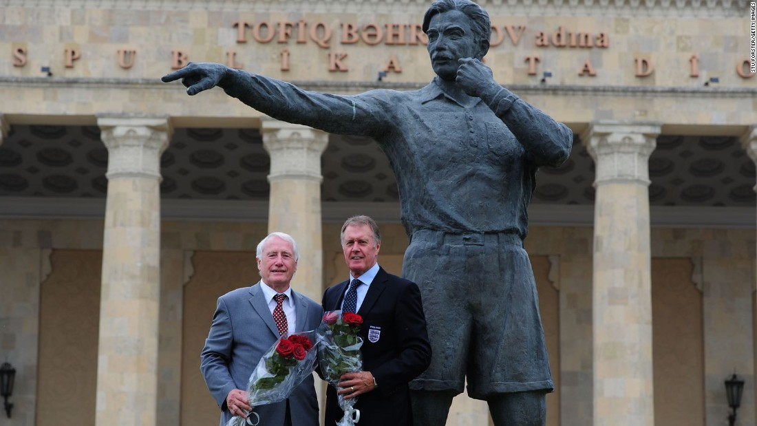 This statue depicts Tofiq Bahramov, the linesman made famous by his decision to rule Geoff Hurst's strike had crossed the line in the 1966 World Cup Final. In 2011, Hurst and former West Germany goalkeeper Hans Tilkowski paid tribute to Bahramov as Azerbaijan celebrated 100 years of football.