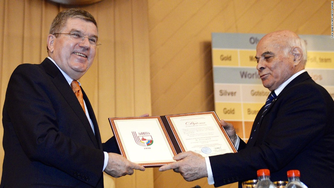 Azerbaijan wants to use events like the European Games to rub shoulders with the world's most influential people. Here is International Olympic Committee President Thomas Bach, left, with a top Azeri sports official in late 2014.