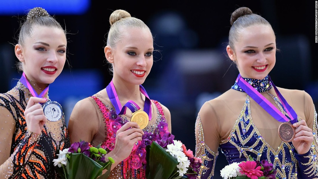 Marina Durunda, right, is an example of an imported gymnastics talent. Born in Ukraine, she grew up in Cyprus and won European bronze in the ribbon event this year competing for her adopted Azerbaijan.