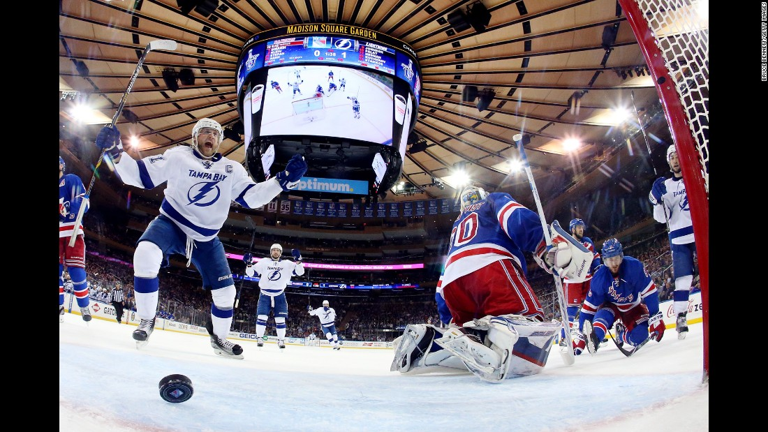 Tampa Bay captain Steven Stamkos celebrates after scoring a power-play goal in New York on Sunday, May 24. Stamkos and the Lightning defeated the Rangers 2-0 to take a 3-2 lead in the NHL's Eastern Conference Finals.