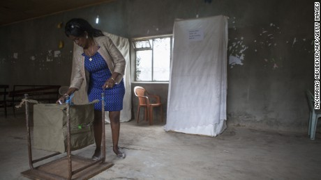 A voter casts her ballot Sunday at a polling station in Addis Ababa, Ethiopia.