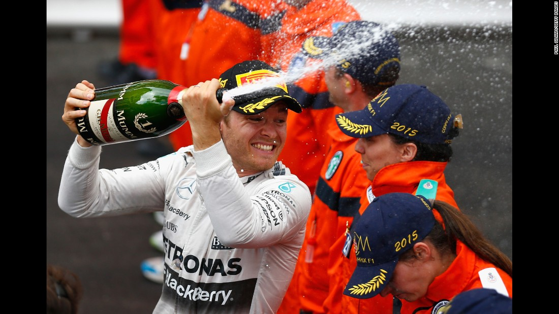 Formula One driver Nico Robserg sprays champagne after winning the Monaco Grand Prix on Sunday, May 24. It was the third year in a row that he won the race.