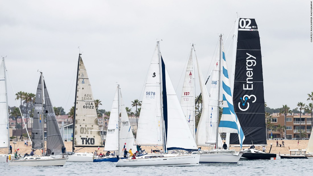The Newport to Ensenada International Yacht Race begins off the Southern California shore of Newport Beach.