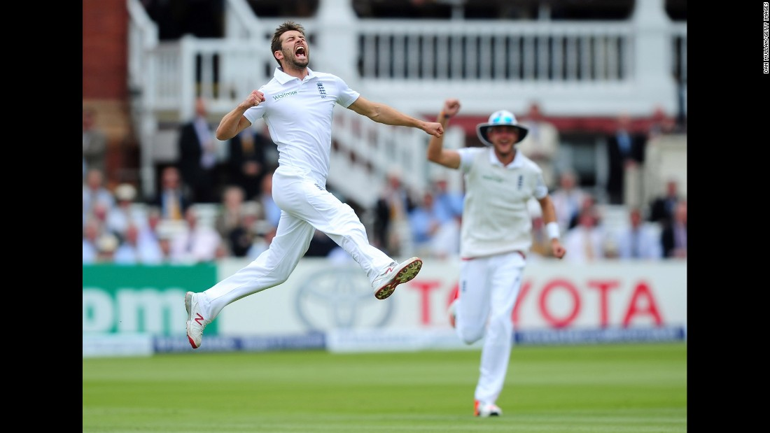 England's Mark Wood celebrates taking the wicket of New Zealand's Martin Guptill only to be denied because of a no ball Friday, May 22, in London.