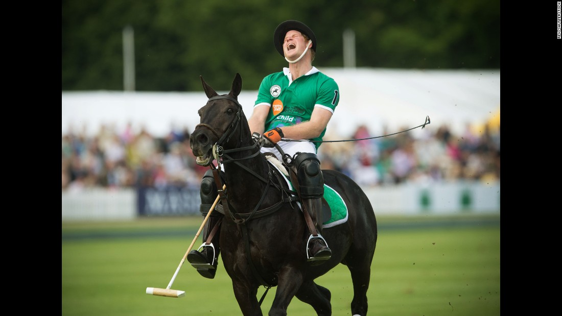 Britain's Prince Harry plays polo in Cirencester, England, on Sunday, May 24.