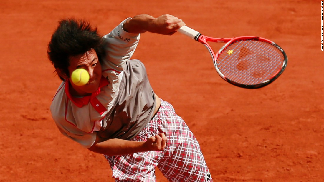 Yoshihito Nishioka serves during his first-round match at the French Open on Monday, May 25.