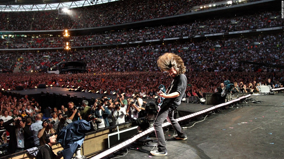 Grohl performs for the 2007 Live Earth concert at Wembley Stadium in London.