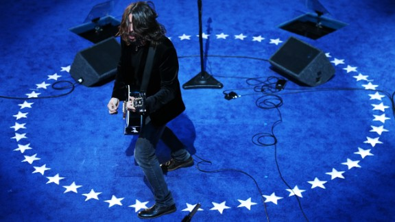 Grohl and the Foo Fighters perform after Joe Biden was nominated for vice president at the  2012 Democratic National Convention in Charlotte, North Carolina.