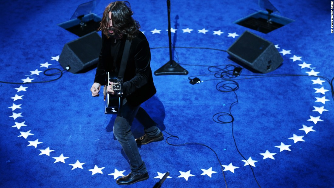 "Grohl and the Foo Fighters perform after Joe Biden was nominated for vice president at the  <a href=""http://www.cnn.com/2012/09/06/politics/dnc-celebs/"" target=""_blank"">2012 Democratic National Convention</a> in Charlotte, North Carolina."