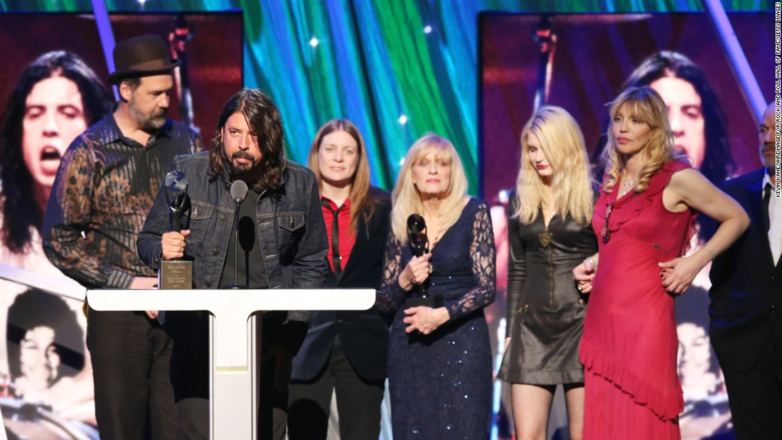Dave Grohl speaks at the 2014 Rock and Roll Hall of Fame Induction Ceremony after Nirvana was inducted.