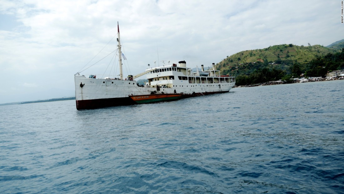 The MV Liemba sits just off the shore of Kagunga ahead of its next voyage. The World War I-era gunship is now the workhorse of the U.N.'s efforts to move refugees into Tanzania.