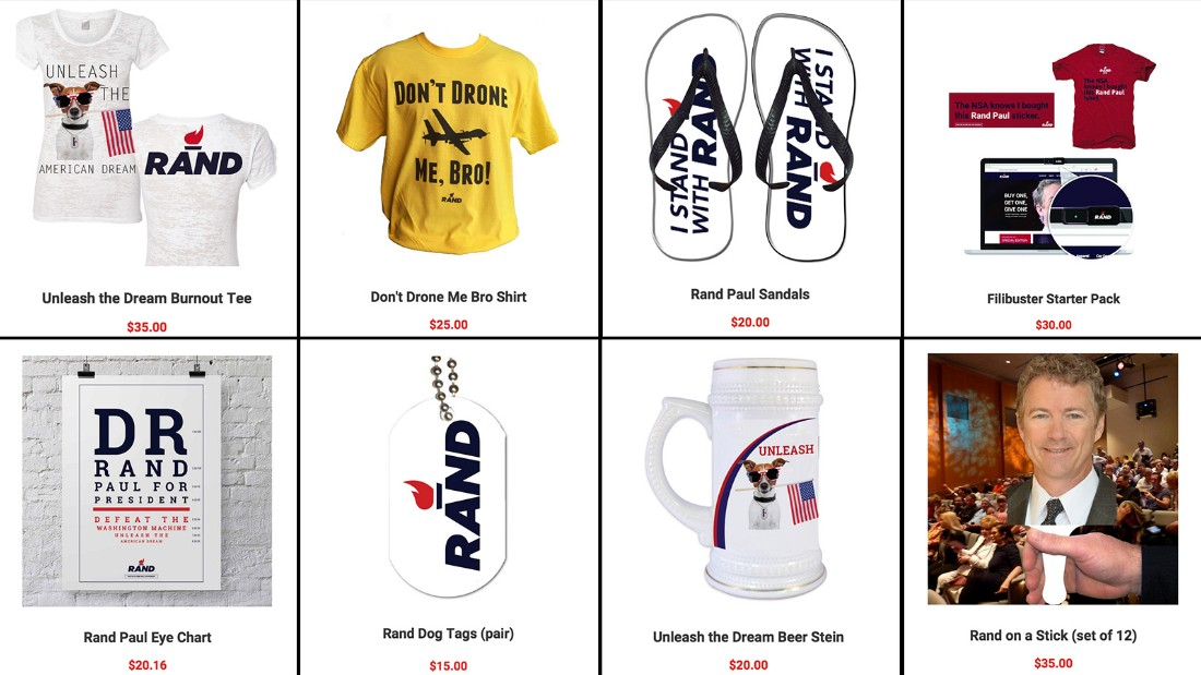 "Rand Paul's merchandise for sale includes a ""filibuster starter pack"" and ""Rand on a Stick."""