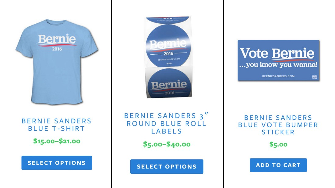 "Bernie Sanders' merchandise store features a bumper sticker saying, ""You know you wanna"" vote for Bernie."