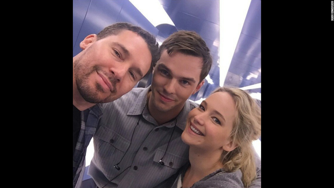 "Film director Bryan Singer, left, <a href=""https://instagram.com/p/29GbSTRD9t/?taken-by=bryanjaysinger"" target=""_blank"">takes a selfie with two of his ""X-Men: Apocalypse"" stars,</a> Nicholas Hoult and Jennifer Lawrence, on Thursday, May 21. Hoult and Lawrence dated for several years before breaking up last year."