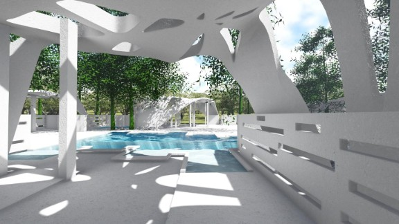 An artists rendering of a 3D printed pool area.