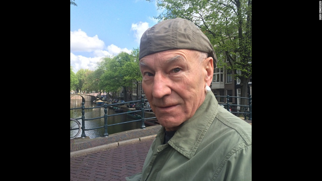 "Actor Patrick Stewart <a href=""https://instagram.com/p/26r09dujIw/"" target=""_blank"">wears a pearl earring</a> in Amsterdam, Netherlands, on Wednesday, May 20 -- a nod, perhaps, to the famous Dutch painting ""Girl with a Pearl Earring."""