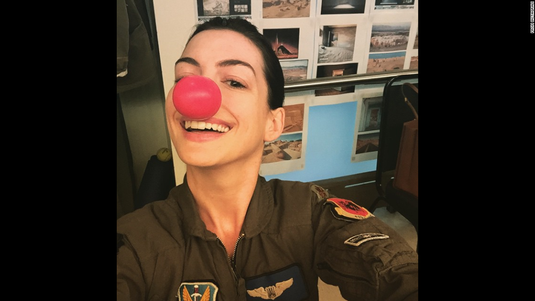 """Happy #RedNoseDay!!""<a href=""https://instagram.com/p/28_3zgF0Lo/"" target=""_blank""> said actress Anne Hathaway</a> on Thursday, May 21. ""Brought to you from backstage at 'Grounded.' "" Many celebrities <a href=""http://www.cnn.com/2015/05/21/entertainment/feat-red-nose-day-explainer/"" target=""_blank"">wore red clown noses</a> to raise money for charity."