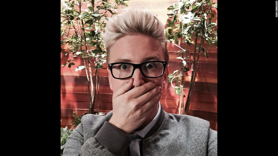 "YouTube personality Tyler Oakley <a href=""https://instagram.com/p/286nNoN_8I/"" target=""_blank"">took this selfie</a> on Thursday, May 21, before appearing on ""The Ellen DeGeneres Show."""