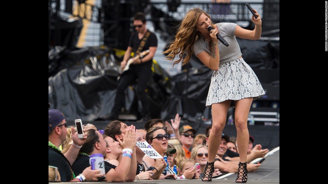 Singer Cassadee Pope performs Sunday, May 24, at the Bayou Country Superfest in Baton Rouge, Louisiana.