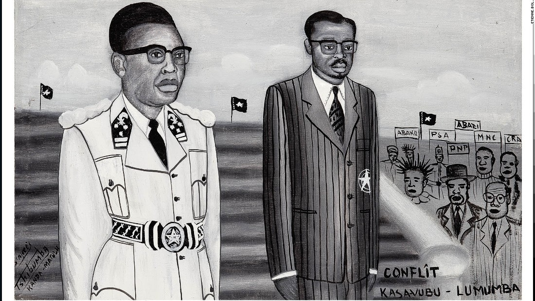 After Congo gained independence from Belgium, political strife began almost immediately with conflict between president Joseph Kasavubu (on the left) who favored decentralization and prime minister Lumumba who wanted a strong central government.<em>Conflit Kasavubu -- Lumumba, Tshibumba Kanda-Matulu. 39.5 x 62.5cm, Acrylic on canvas.</em>