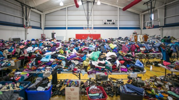 Clothes and other relief supplies are gathered at Wimberley High School on May 26.