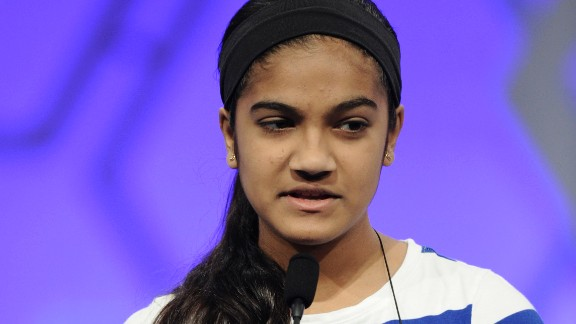 "Vanya Shivashankar, 13, of Olathe, Kansas, spells the word ""pistachio."" She went on to become one of two winners."