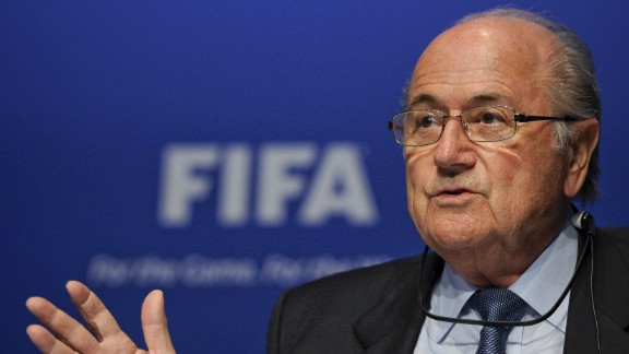 Caption:FIFA president Joseph Blatter gestures during a press conference following an executive meeting on March 30, 2012 at the World football governing body